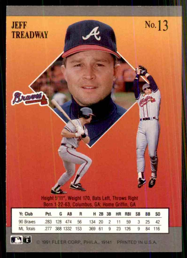 1991 Ultra Jeff Treadway #13 card back image