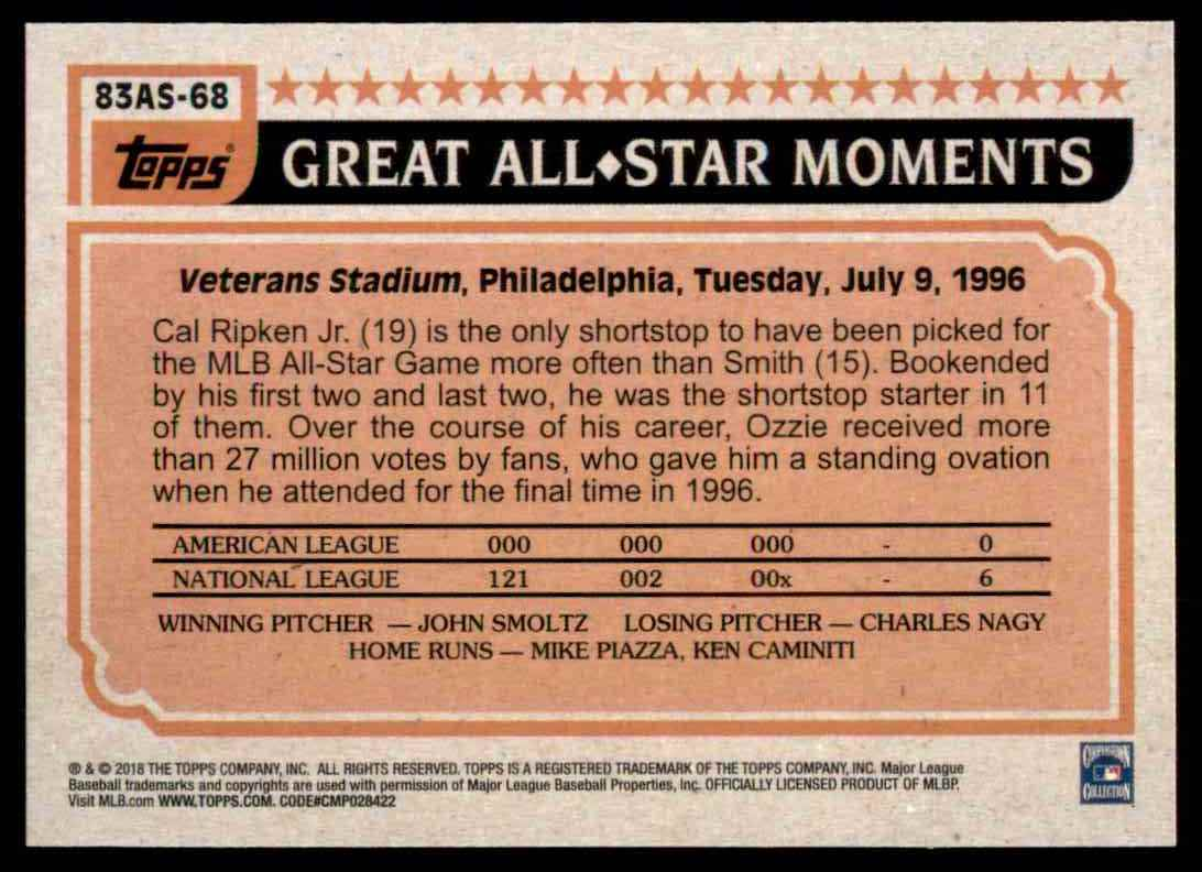 2018 Topps Series 2 1983 All-Star Insert Ozzie Smith #68 card back image