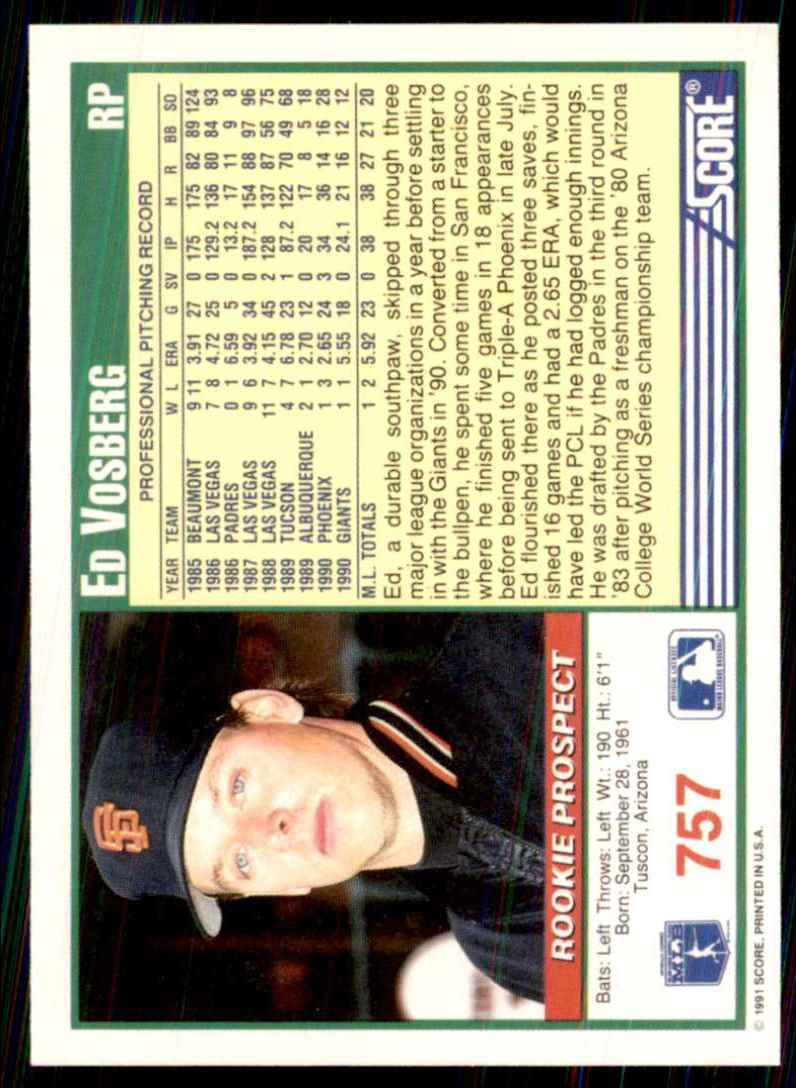 1991 Score Ed Vosberg RC #757 card back image