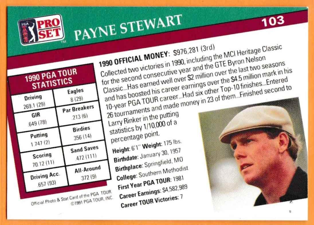 1990 Pro Set Golf 1990 PGA Tour Payne Stewart #103 card back image