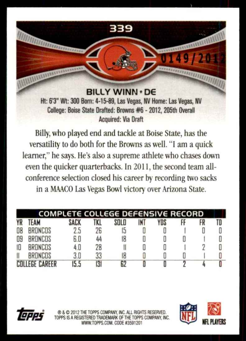 2012 Topps Gold Billy Winn #339 card back image