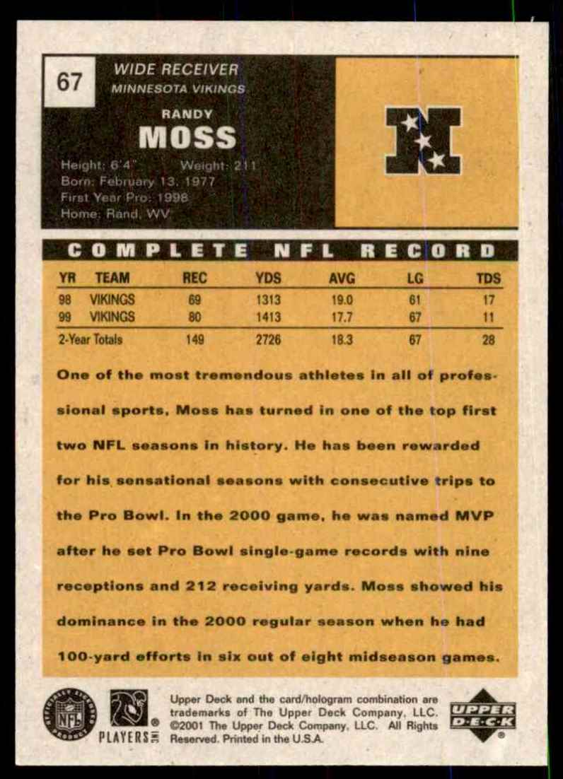 2000 Upper Deck Vintage Previews Randy Moss #67 card back image
