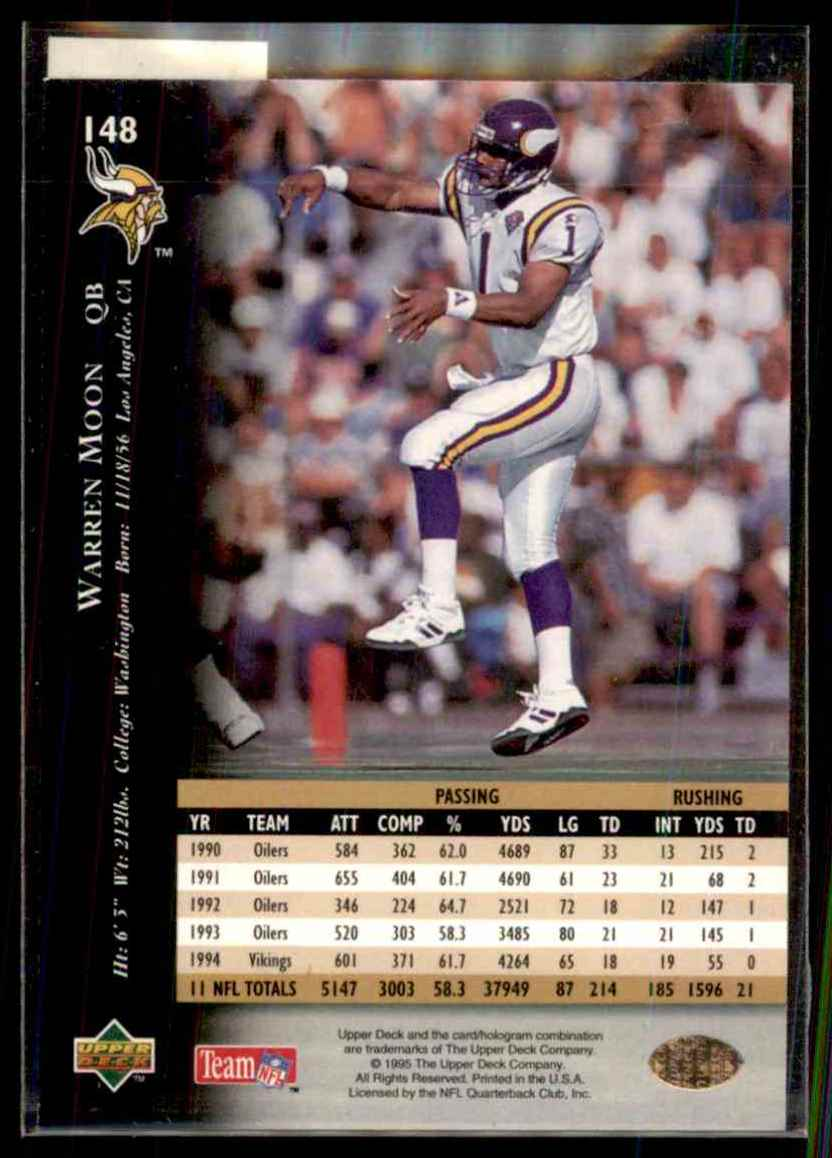 1995 Upper Deck Warren Moon #148 card back image