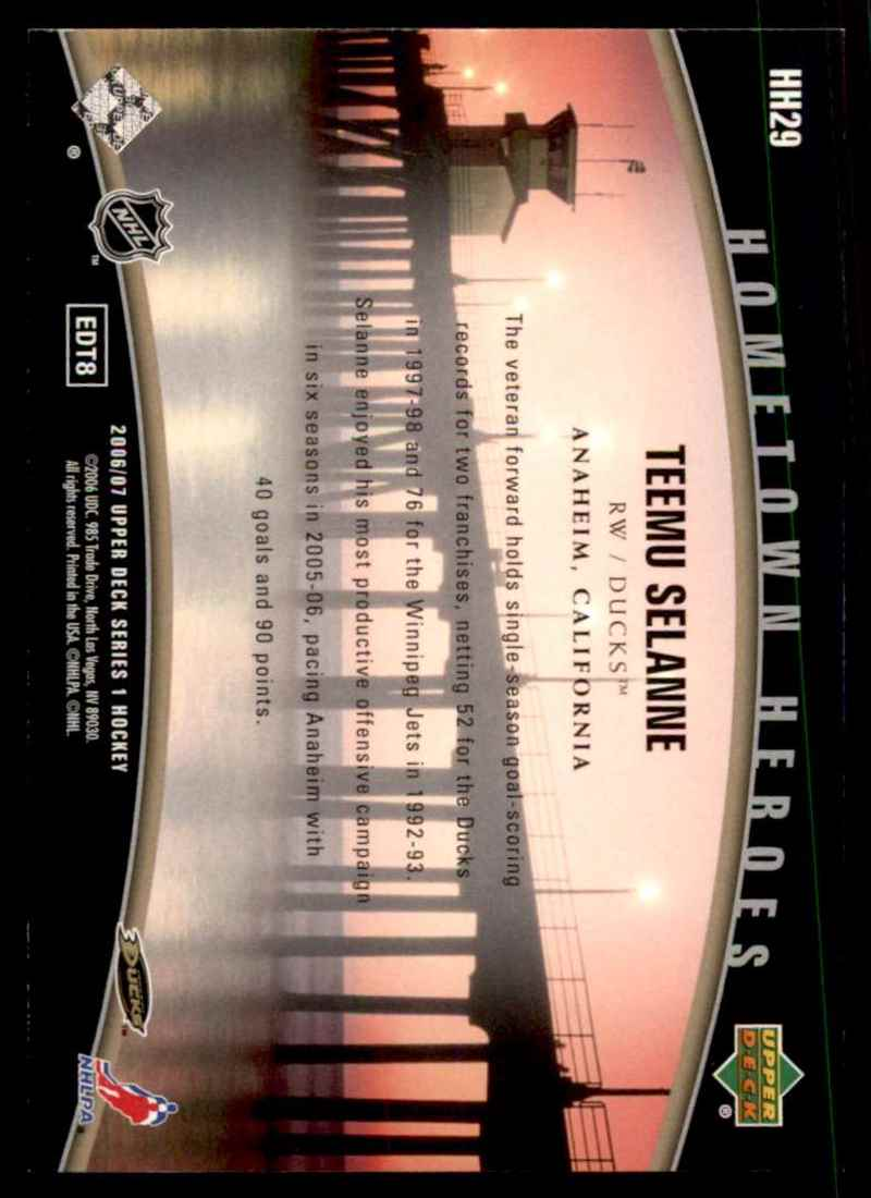 2006-07 Upper Deck Hometown Heroes Teemu Selanne #HH29 card back image