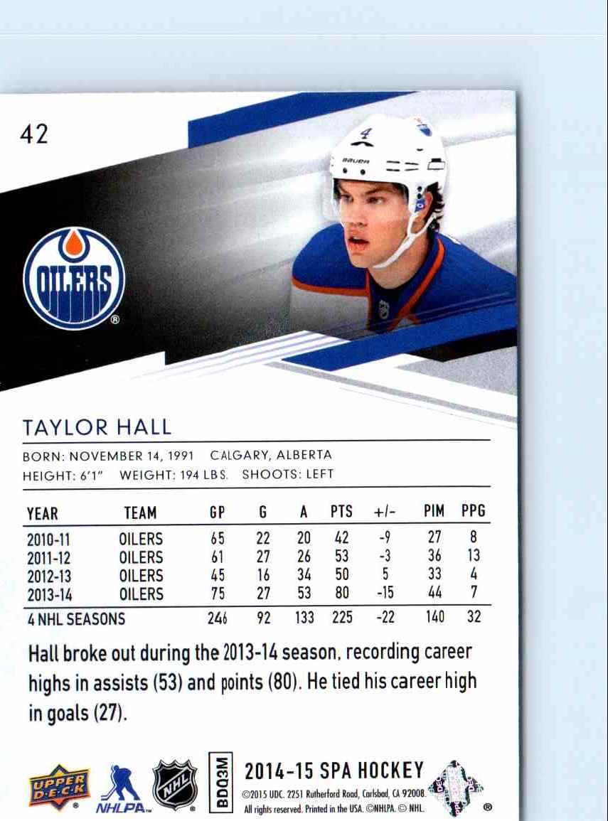 2014-15 SP Authentic Taylor Hall #42 card back image