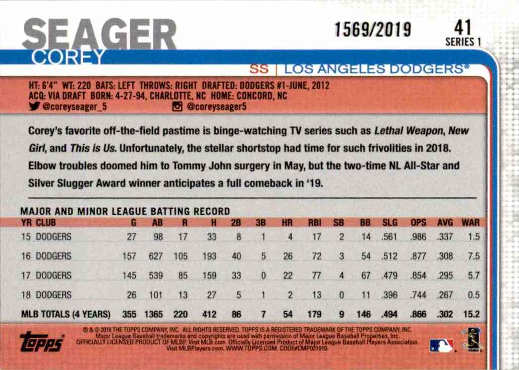 2019 Topps Gold Parallel Corey Seager #41 card back image