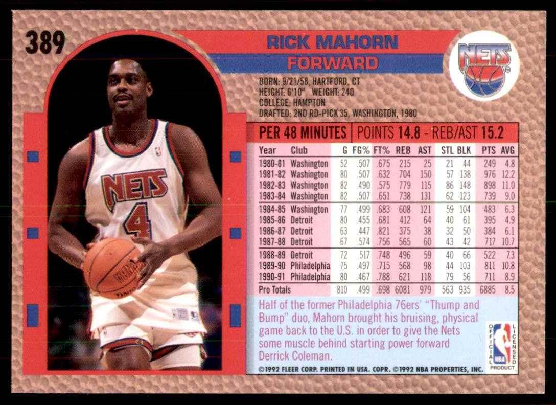 1992-93 Fleer Rick Mahorn #389 card back image
