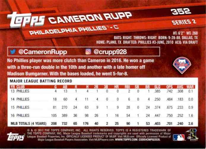 2017 Topps Series 2 Cameron Rupp #352 card back image