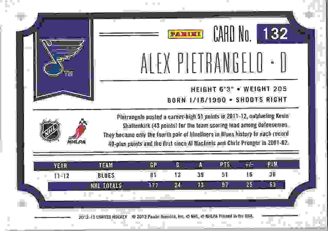 2012-13 Panini Limited Alex Pietrangelo #132 card back image
