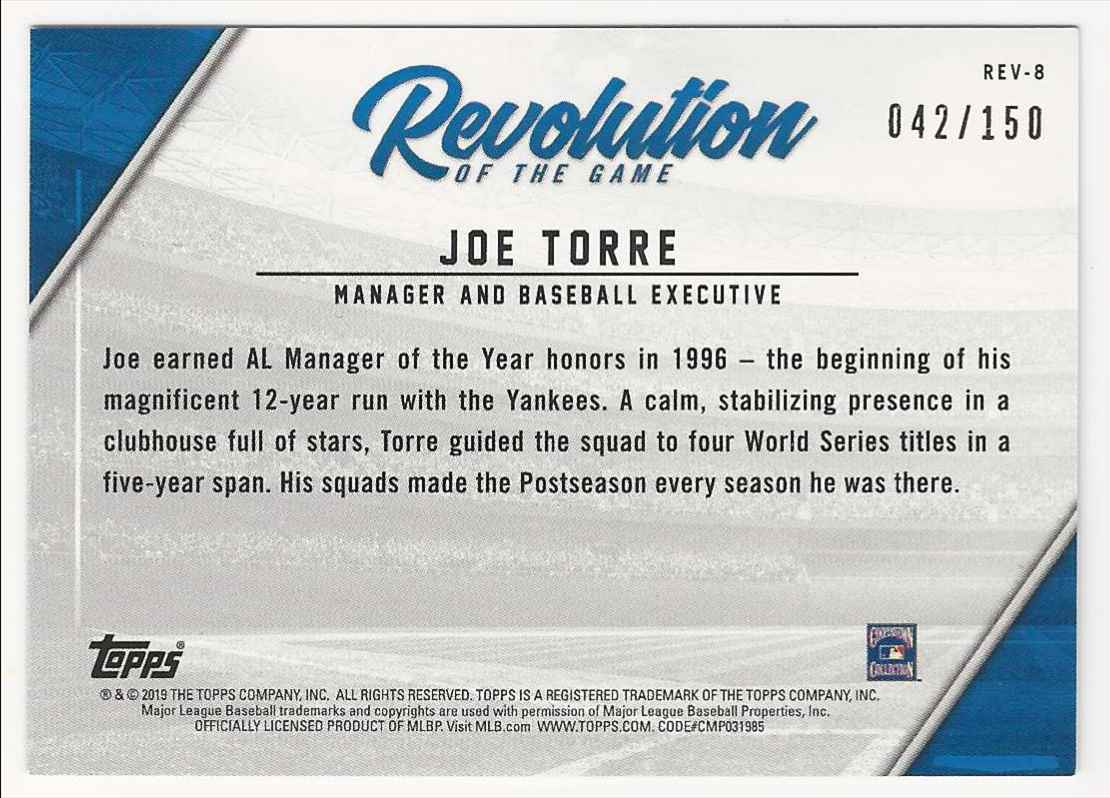 2019 Topps Revolution Of The Game 150th Anniversary Joe Torre #REV-8 card back image
