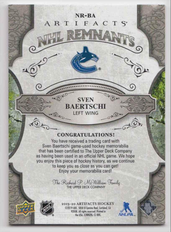 2019-20 Artifacts NHL Remnants Sven Baertschi #NR-BA card back image