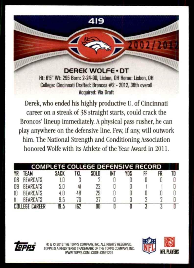 2012 Topps Gold Derek Wolfe #419 card back image
