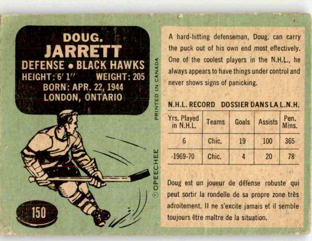 1970-71 O-Pee-Chee Doug Jarrett #150 card back image