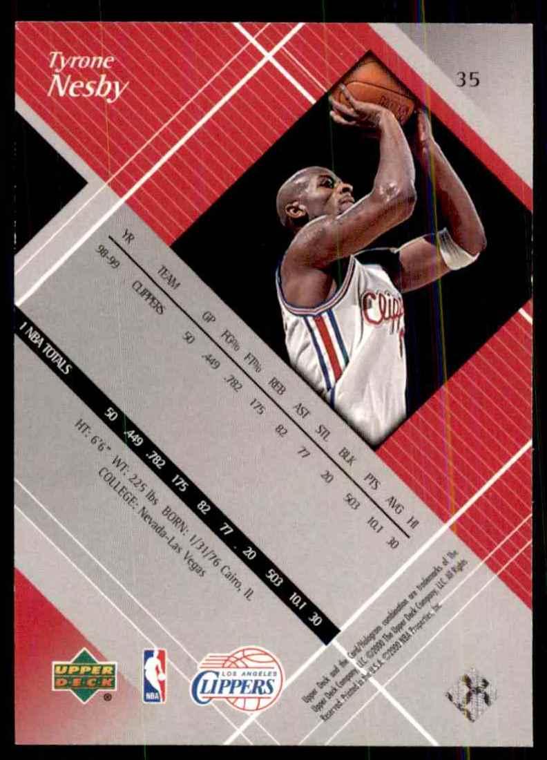 1999-00 Upper Deck Black Diamond Tyrone Nesby RC #35 card back image