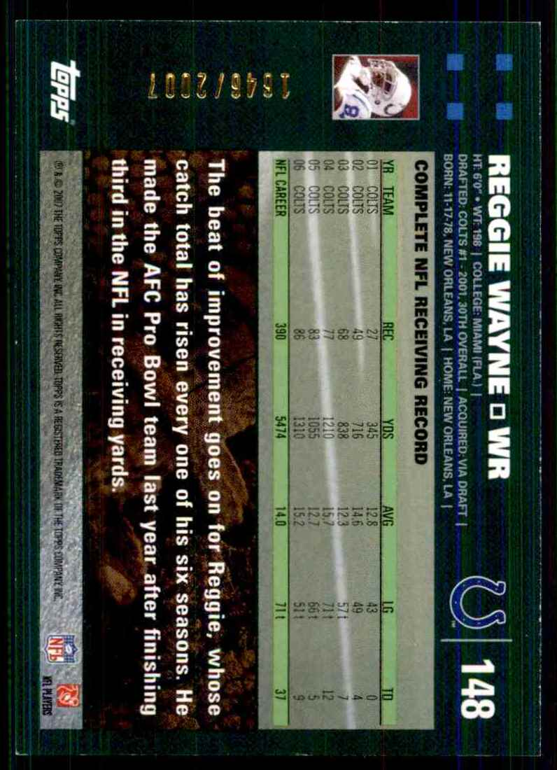 2007 Topps Copper Reggie Wayne #148 card back image