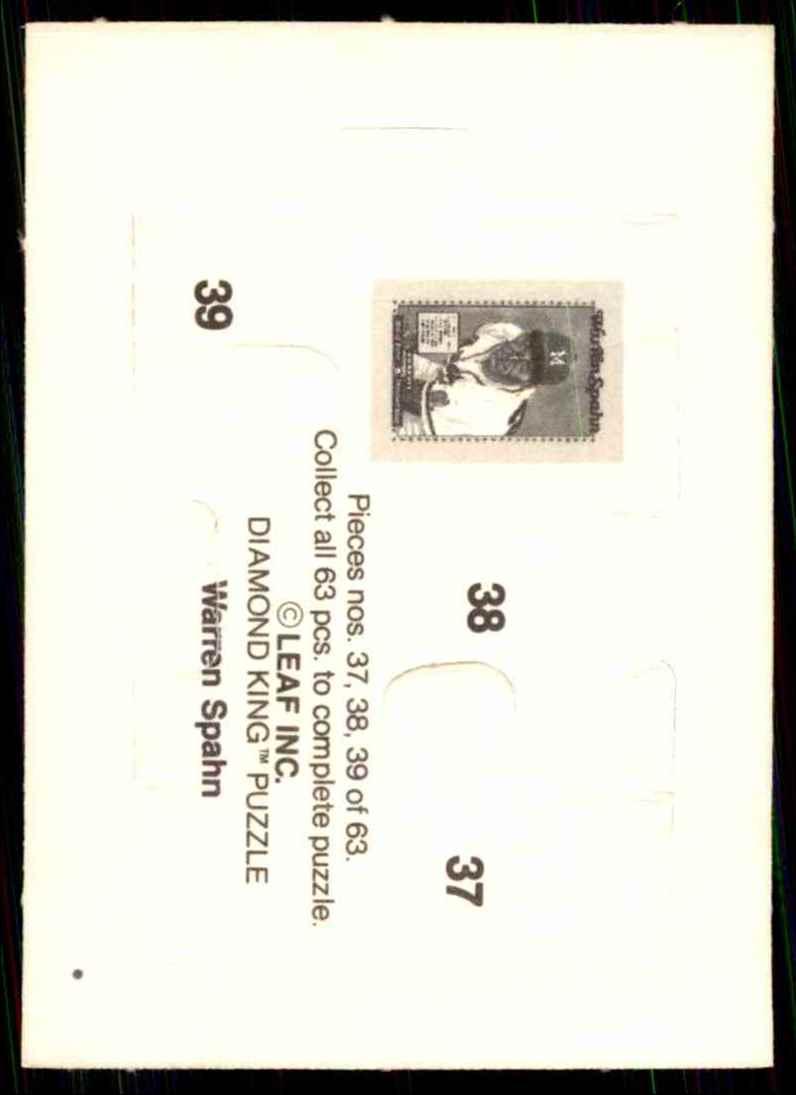 1989 Donruss Warren Spahn Puzzle Spahn Puzzle 37-39 #37 card back image