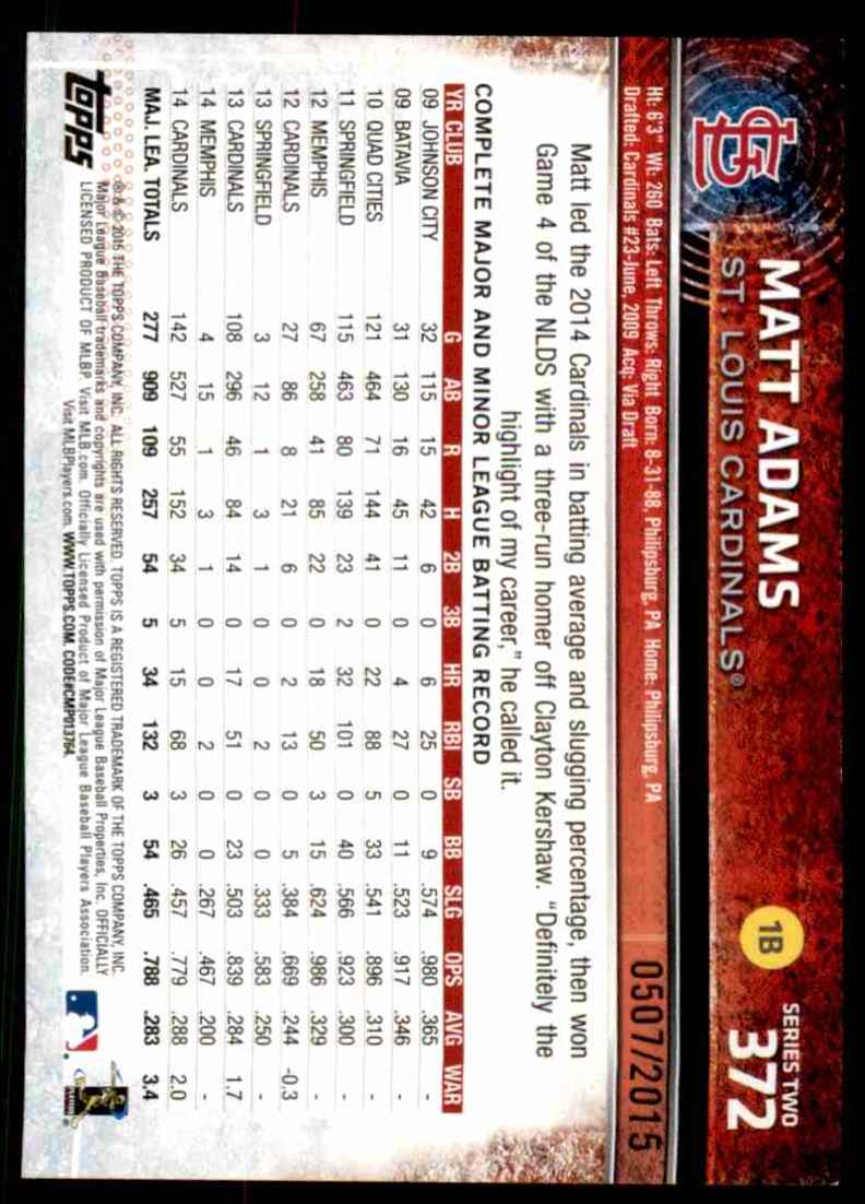 2015 Topps Gold Matt Adams #372 card back image