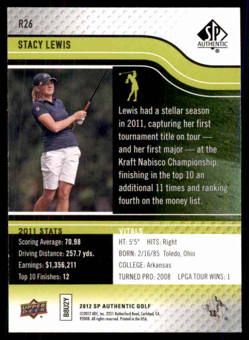 2012 SP Authentic Rookie Extended Stacy Lewis #R26 card back image