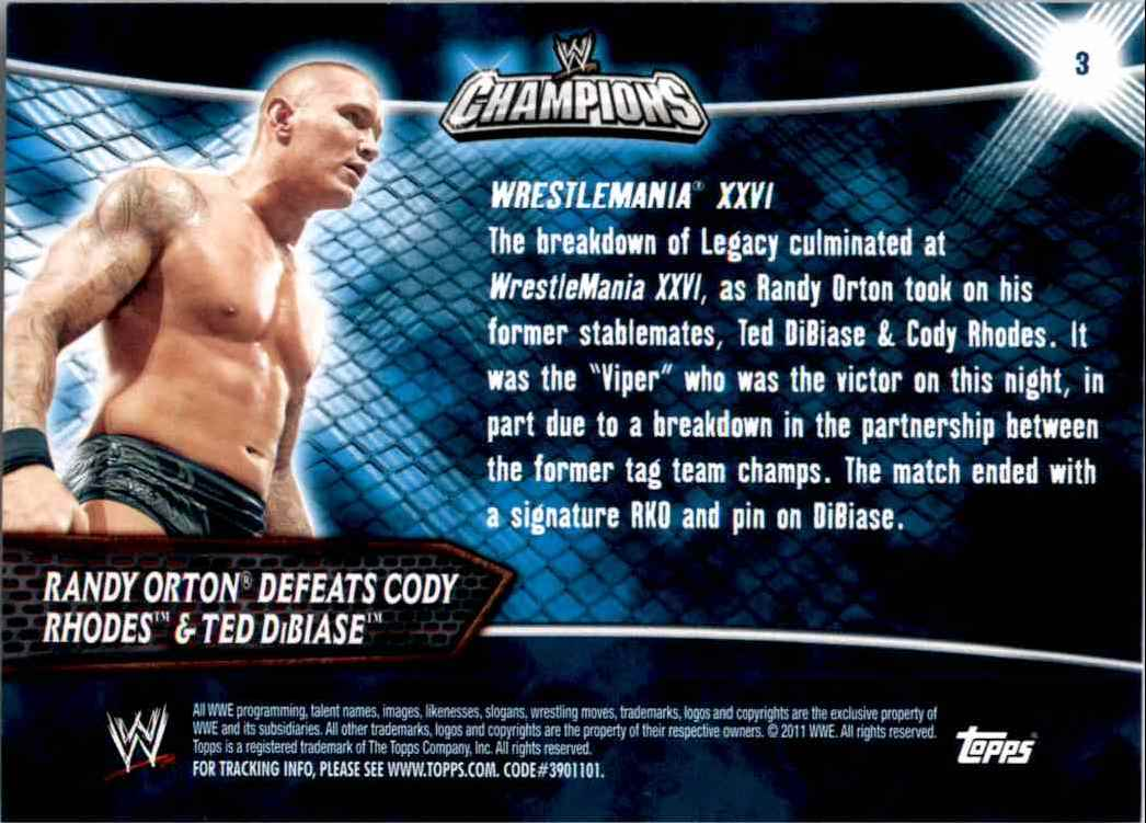 2011 Topps Wwe Champions Randy Orton Defeats Rhodes And DiBiase #3 card back image