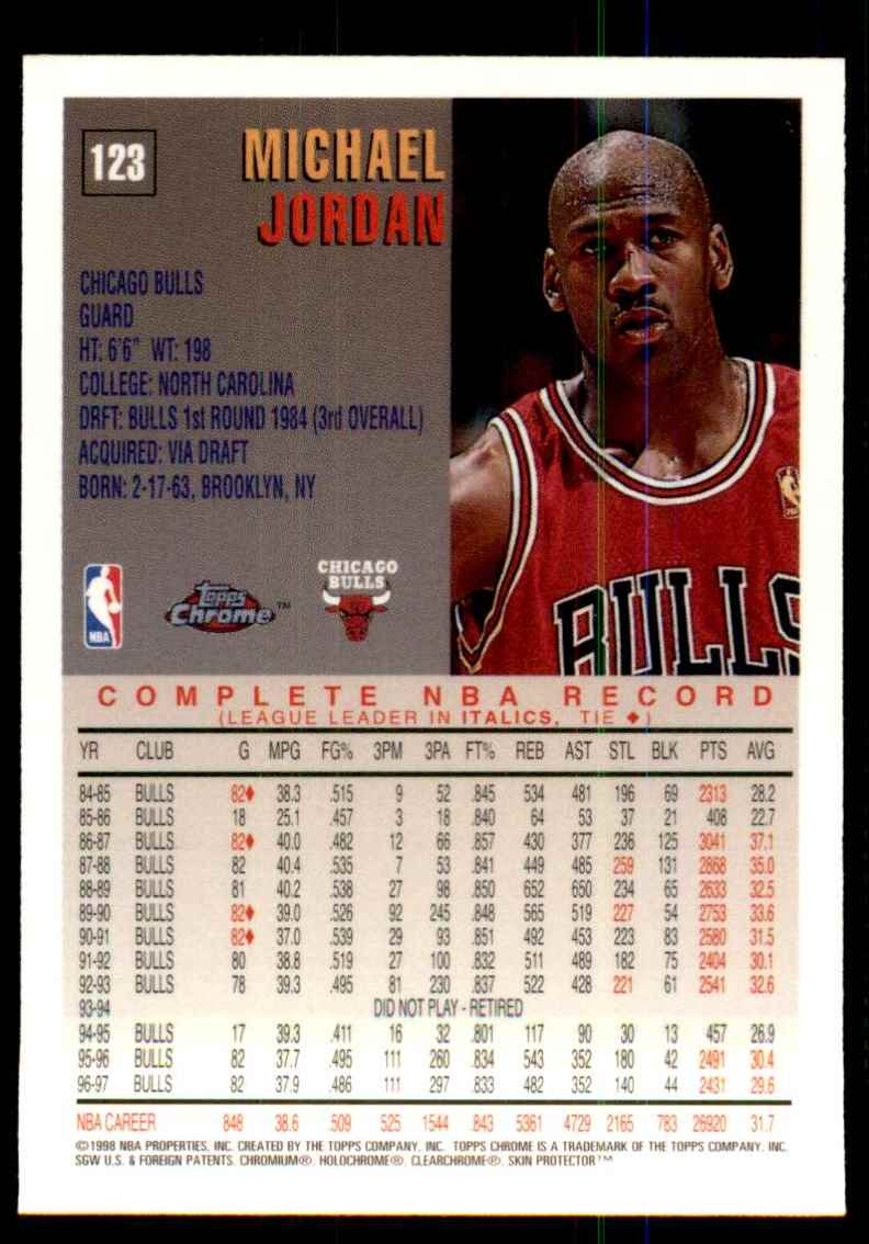 1997-98 Topps Chrome Michael Jordan #123 card back image