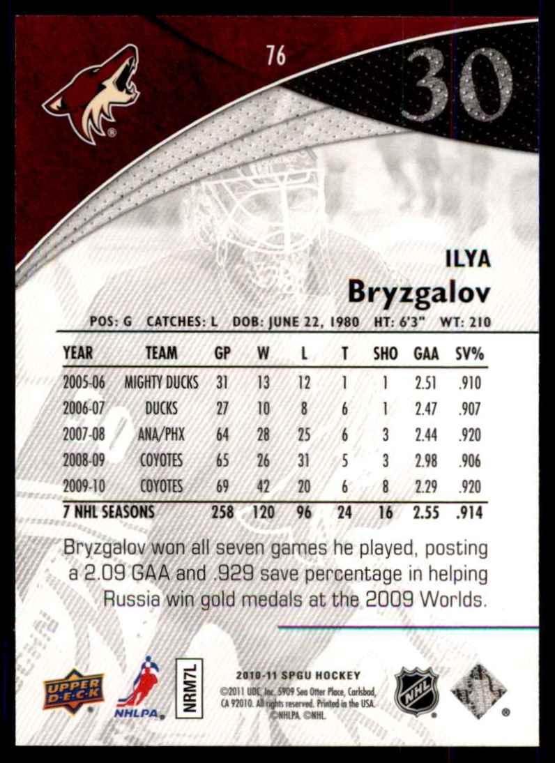 2010-11 SP Game Used Ilya Bryzgalov #76 card back image
