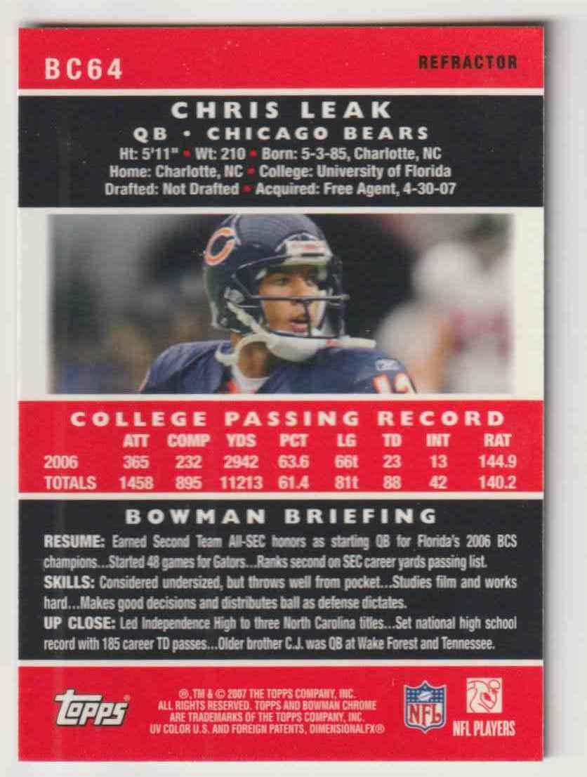 2007 Bowman Chrome Chris Leak #BC64 card back image