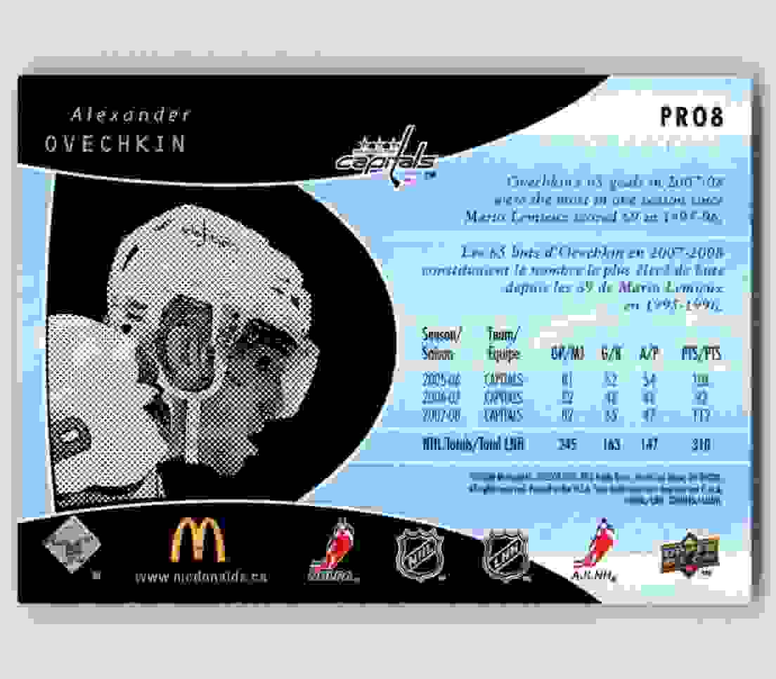 2008-09 Upper Deck McDonald's Profiles Alexander Ovechkin #PRO8 card back image