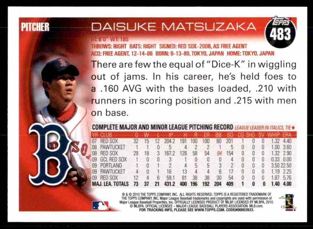 2010 Topps Daisuke Matsuzaka #483 card back image