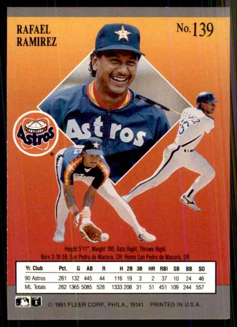 1991 Ultra Rafael Ramirez #139 card back image