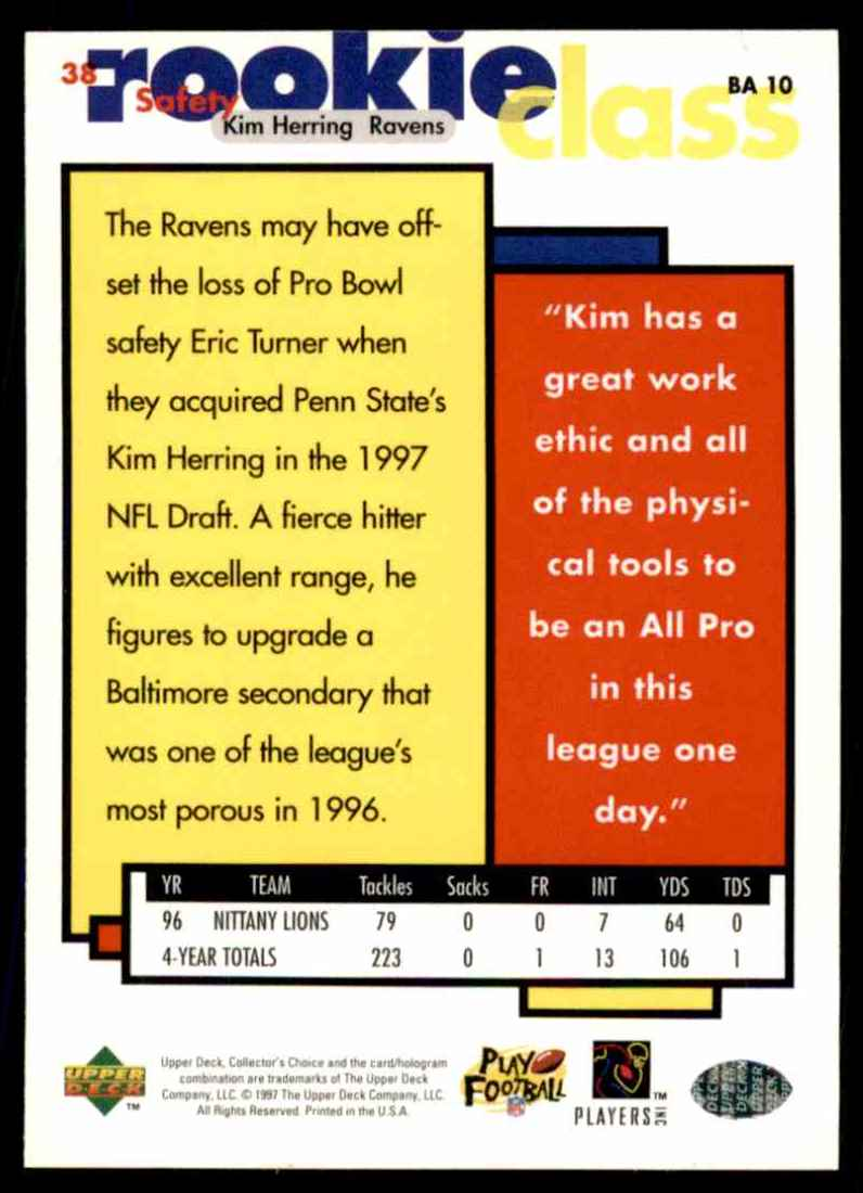 1997 Collector's Choice Kim Herring #38 card back image