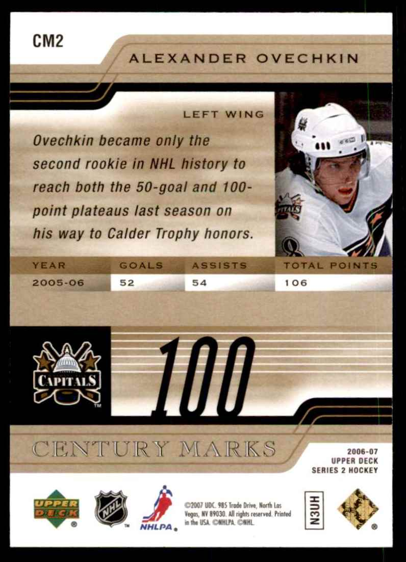 2006-07 Upper Deck Century Marks Alexander Ovechkin #CM2 card back image