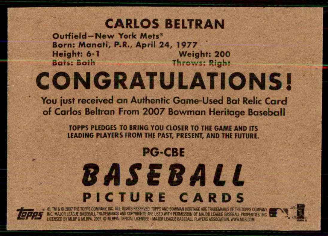 2007 Bowman Heritage Pieces Of Greatness Carlos Beltran Bat B #CBE card back image