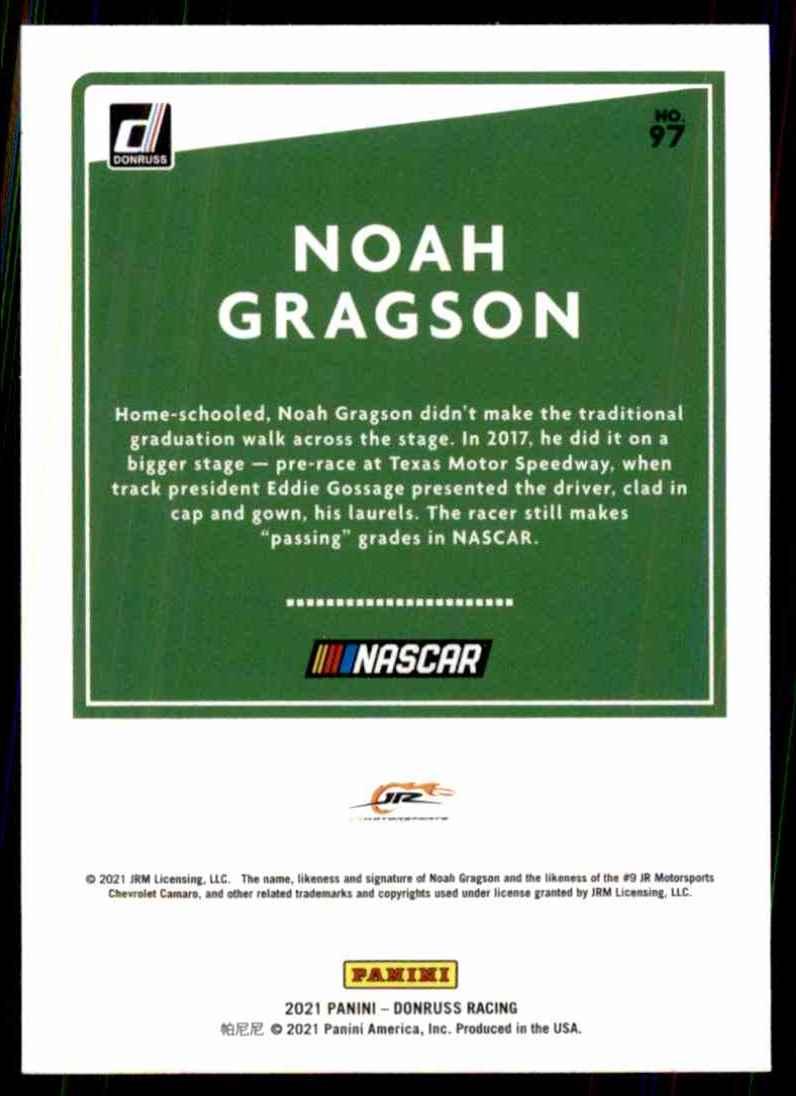 2021 Donruss Noah Gragson #97 card back image