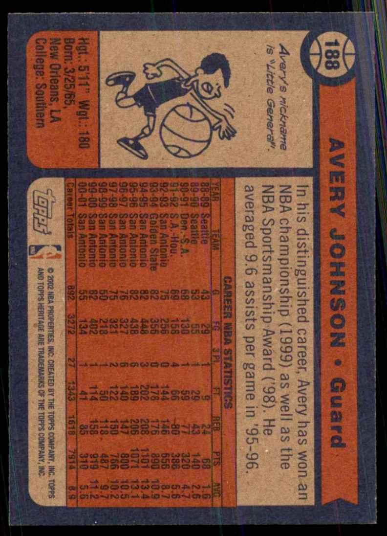 2001-02 Topps Heritage Avery Johnson #188 card back image
