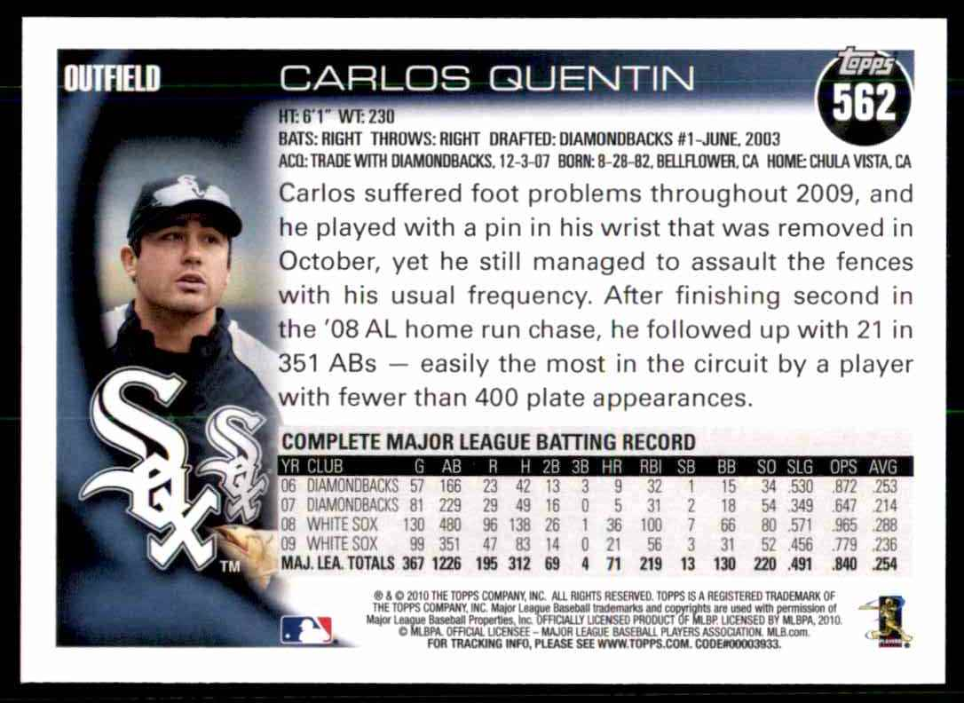 2010 Topps Carlos Quentin #562 card back image