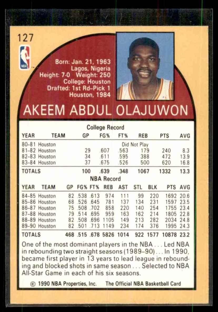 1990-91 Hoops Hakeem Olajuwon #127 card back image