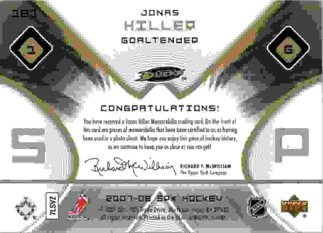 2007-08 Upper Deck SPx Jonas Hiller #181 card back image