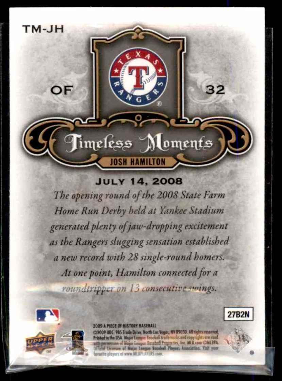 2009 Upper Deck A Piece Of History Timeless Moments Black Josh Hamilton #TMJH card back image