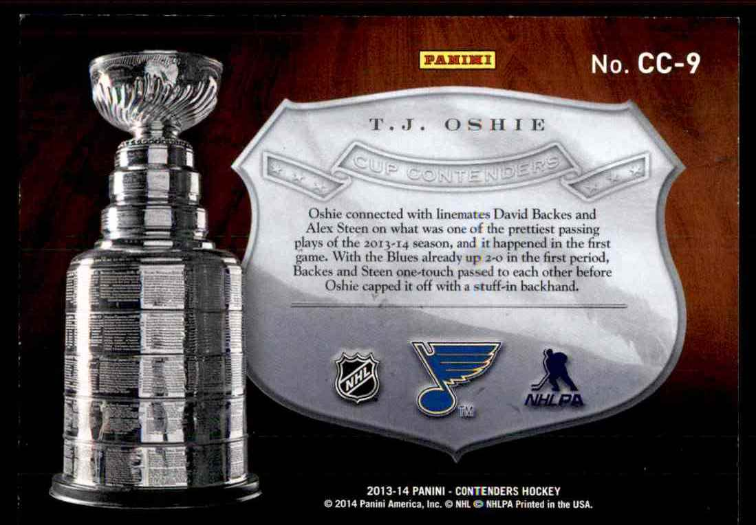2013-14 Panini Stanley Cup Conterders T.J. Oshie #CC-9 card back image