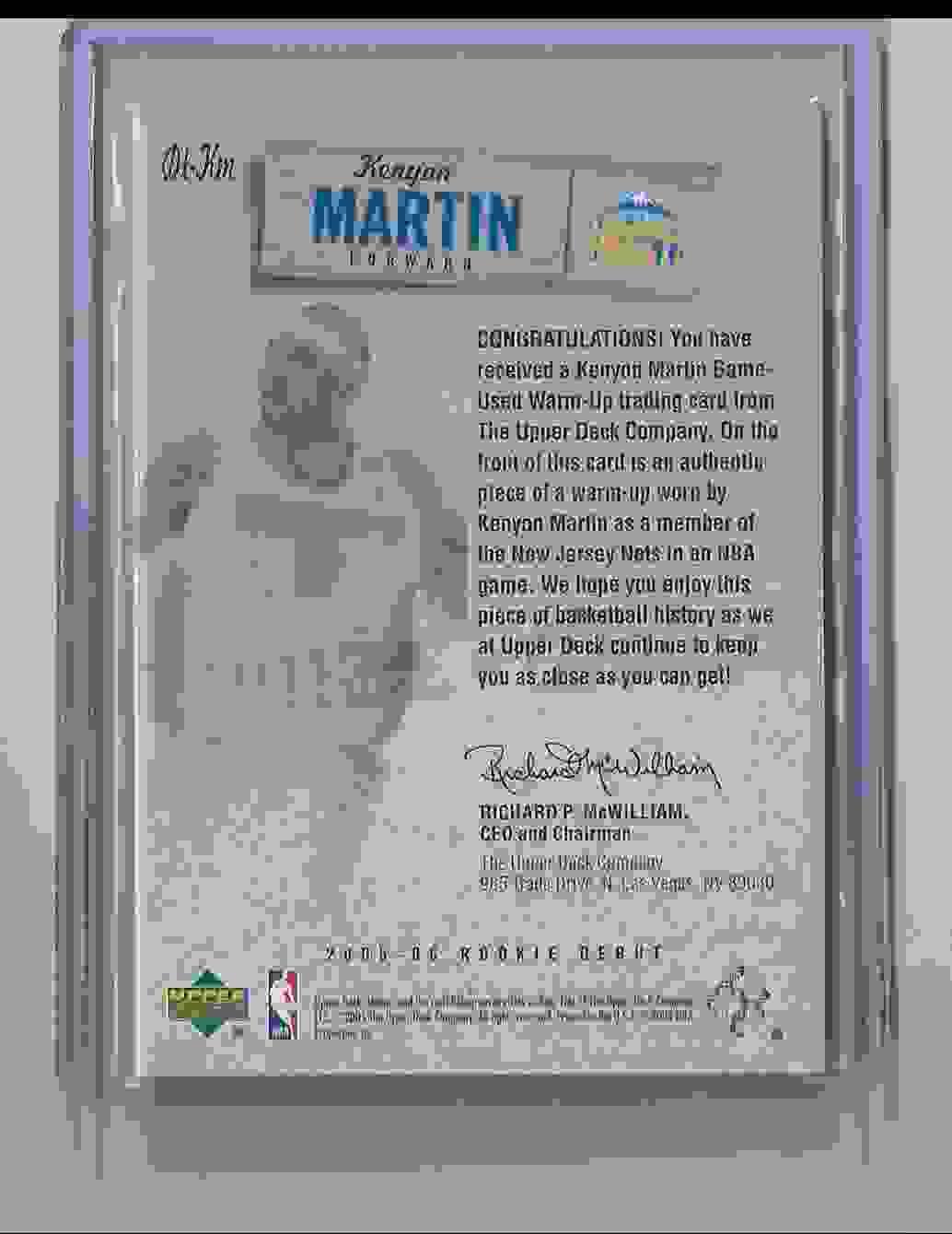 2005-06 Upper Deck Rookie Debut Threads Kenyon Martin #KM card back image