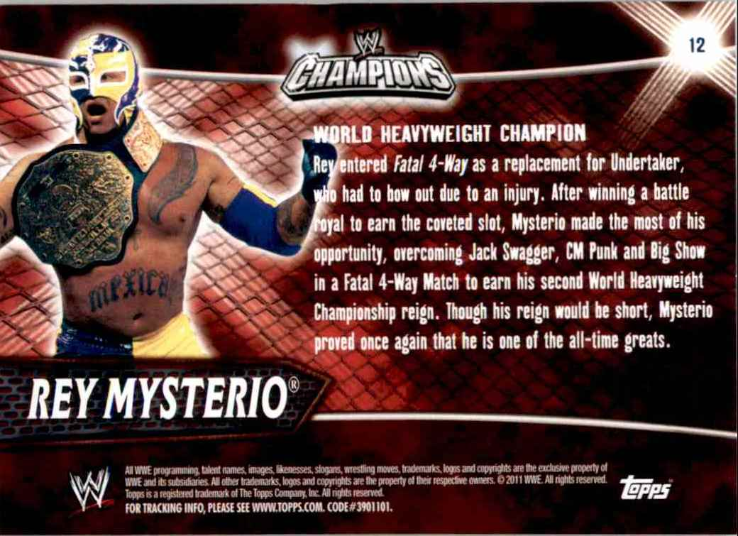 2011 Topps Wwe Champions Rey Mysterio #12 card back image