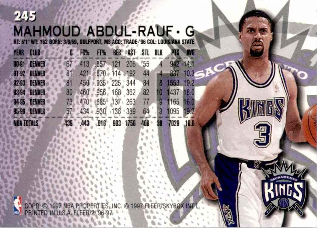 1996-97 Fleer Mahmoud Abdul-Rauf #245 card back image