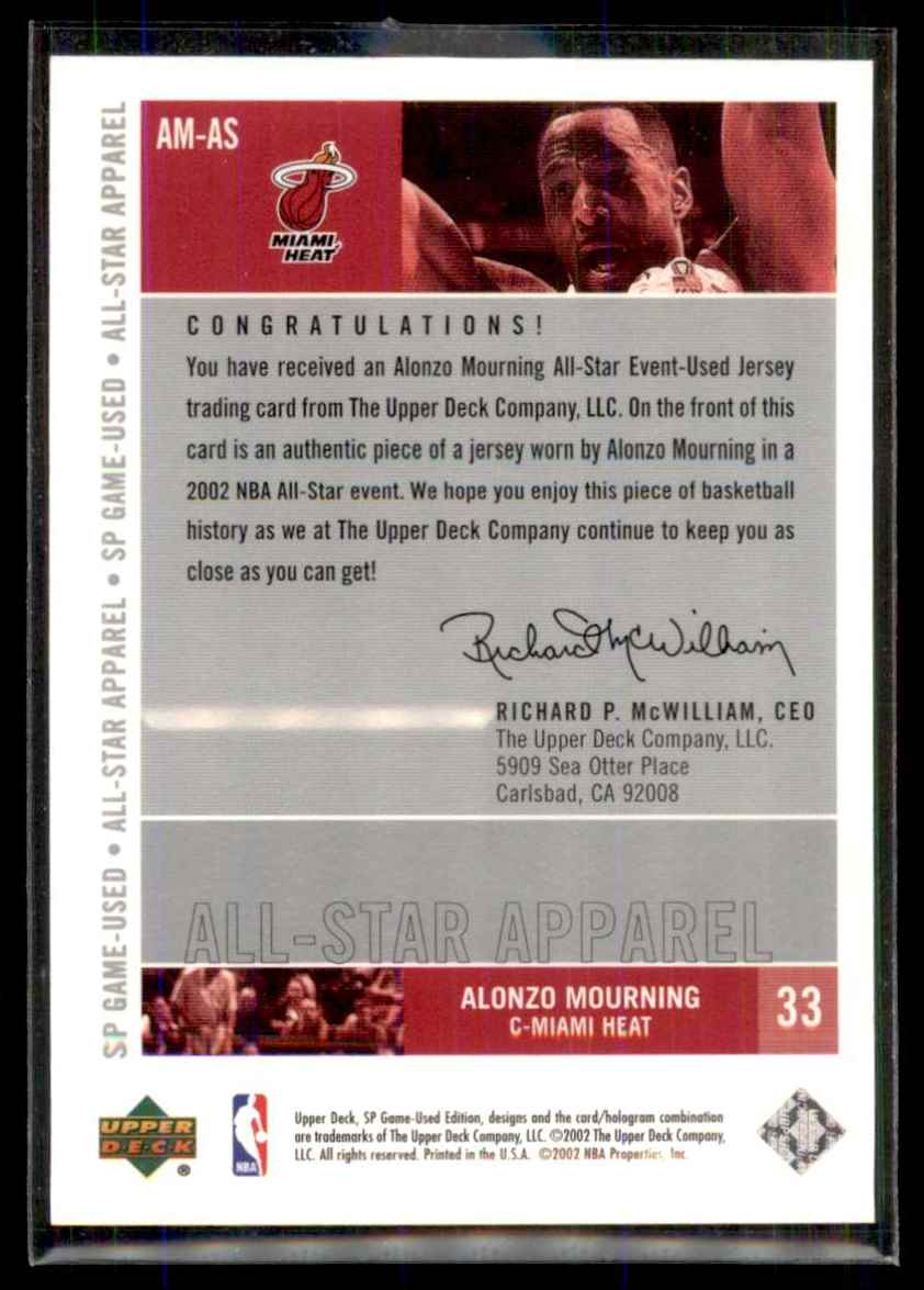 2002-03 SP Game Used All-Star Apparel Alonzo Mourning #AMAS card back image