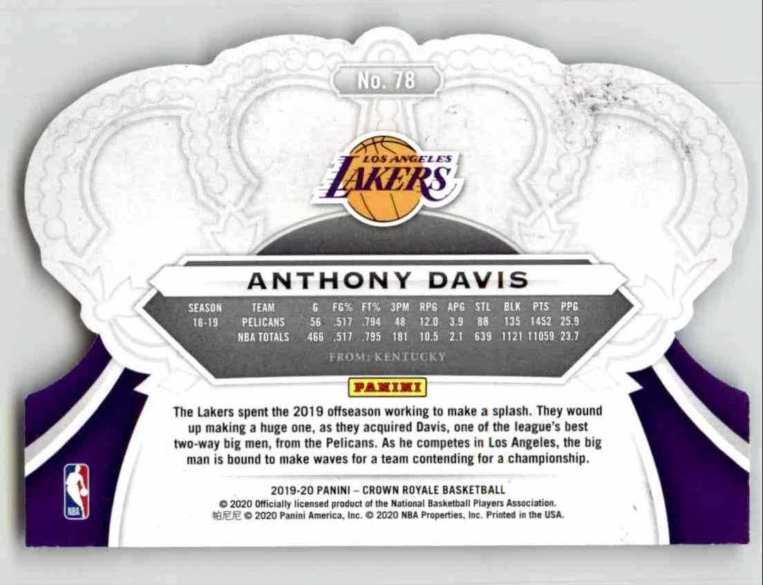 2019-20 Crown Royale Anthony Davis #78 card back image