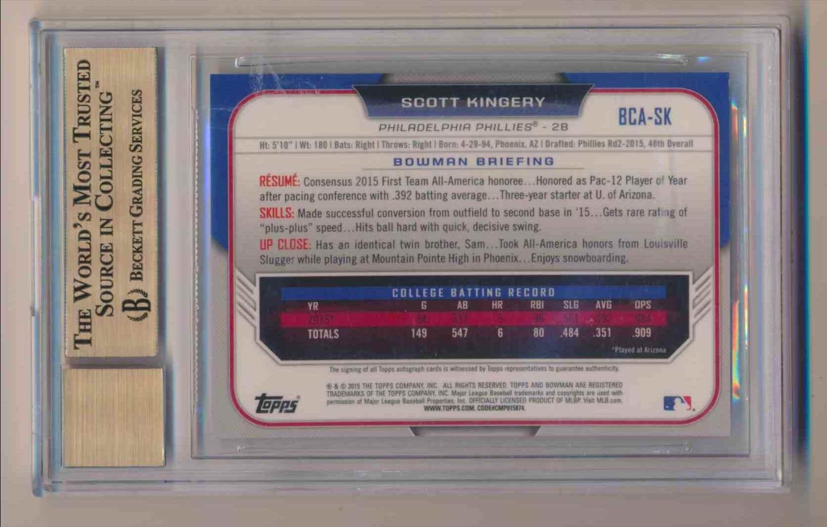 2015 Bowman Chrome Bowman Draft Picks & Prospects BGS 9.5 10 Auto Scott Kingery card back image