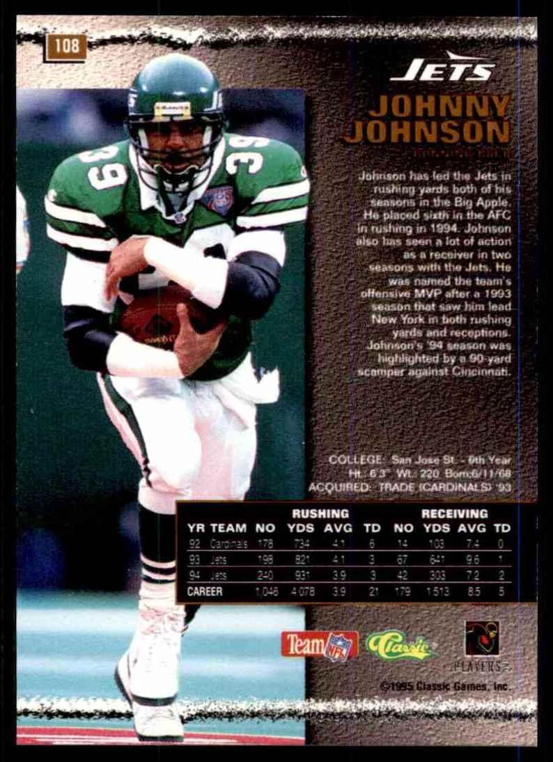 1995 Pro Line Silver Johnny Johnson #108 card back image