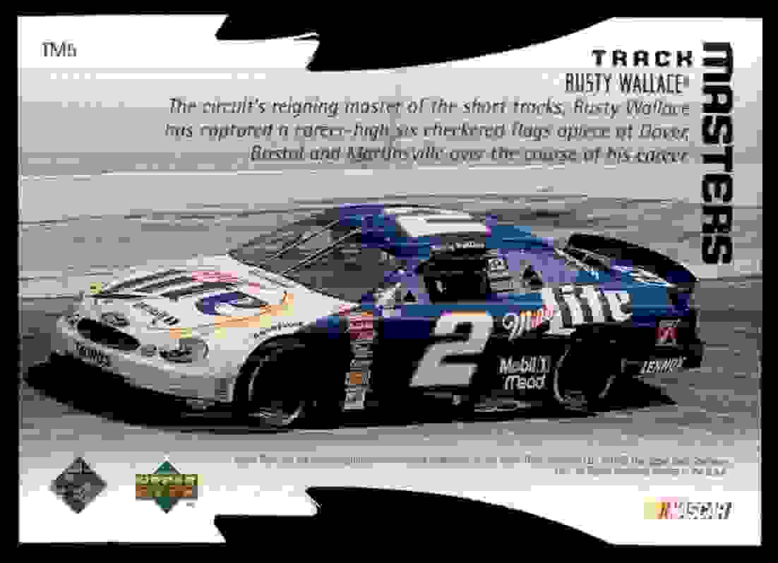 1999 Upper Deck Victory Circle Track Masters Rusty Wallace #TM5 card back image
