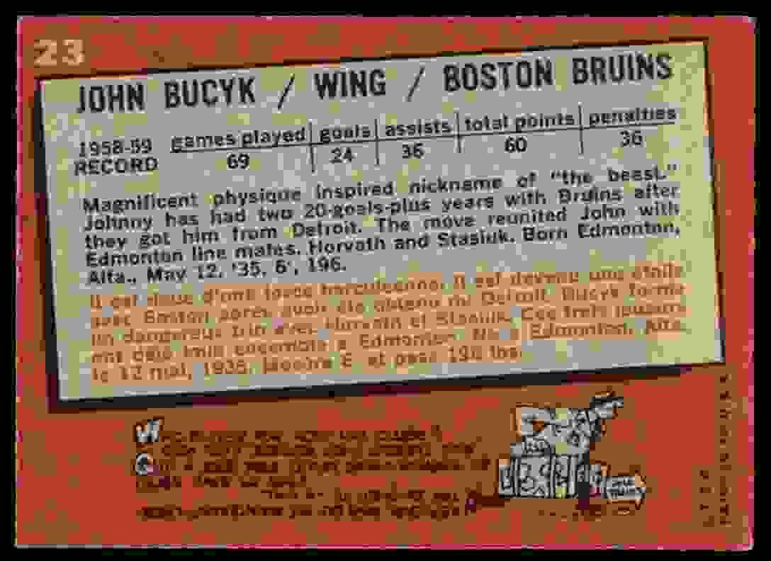 1959-60 Topps Topps John Bucyk (B) #23 card back image