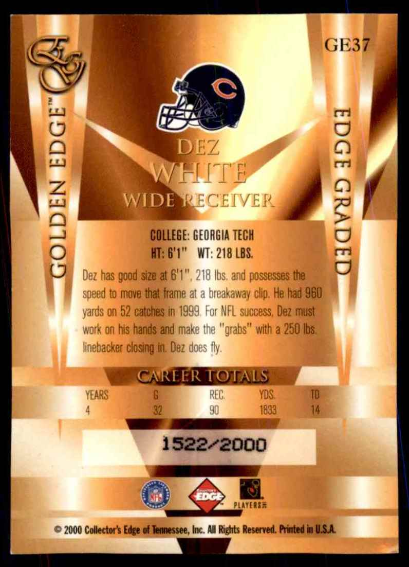 2000 Collector's Edge Eg Golden Edge Dez White #GE37 card back image