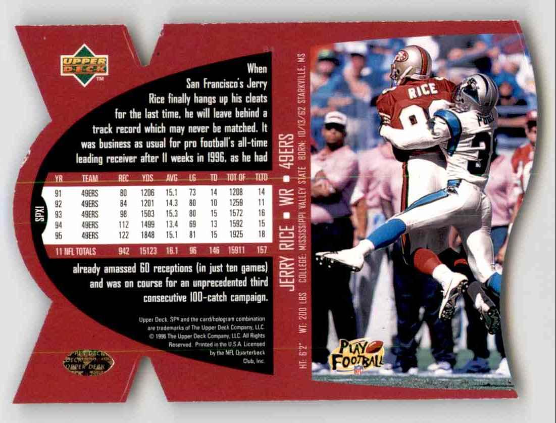 1997 SPx Jerry Rice #1 card back image